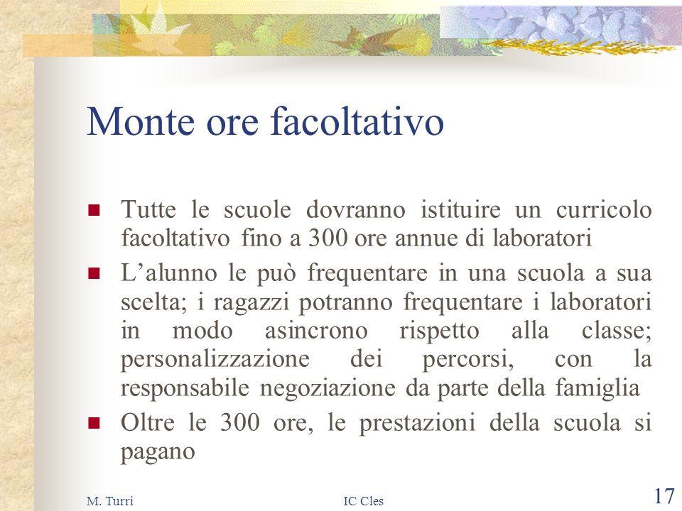 M. TurriIC Cles 16 Monte ore base 825 ore annuali per tutti = 25 ore settimanali di queste 825 ore 660 (20 settimanali) sono quota nazionale e 165 (5