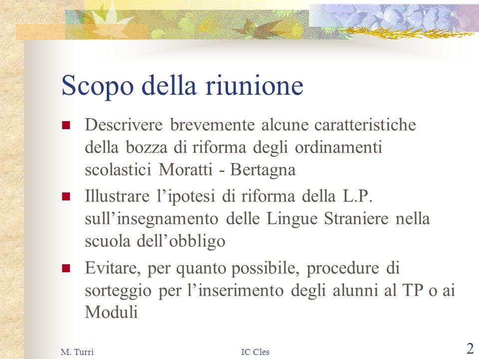 M. TurriIC Cles1 ANNO SCOLASTICO 2002/2003 Iscrizioni alla classe prima incontro con i genitori 12 gennaio 2002