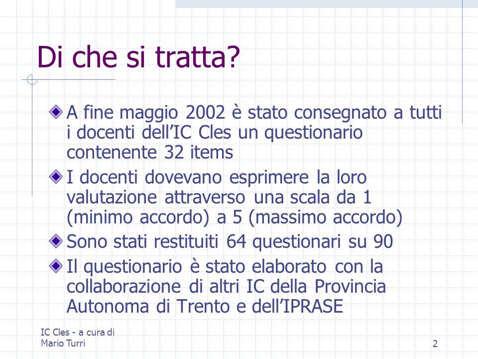IC Cles - a cura di Mario Turri3 Nota tecnica In alcuni casi la somma delle risposte è inferiore al 100% in quanto i questionari riconsegnati non sempre contenevano risposte a tutti gli items