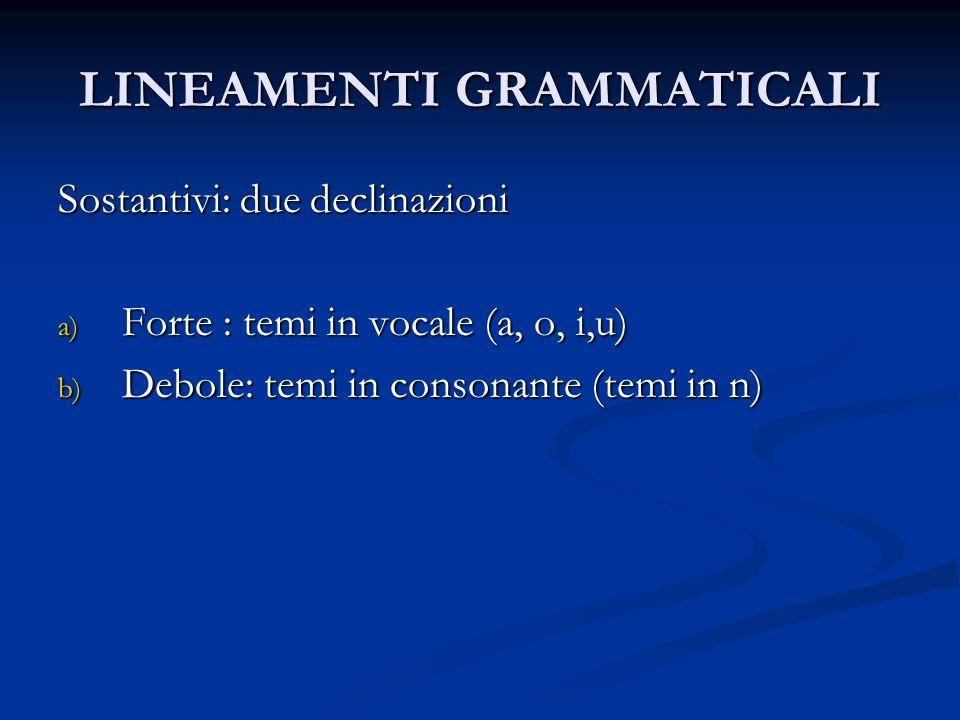 LINEAMENTI GRAMMATICALI Sostantivi: due declinazioni a) Forte : temi in vocale (a, o, i,u) b) Debole: temi in consonante (temi in n)