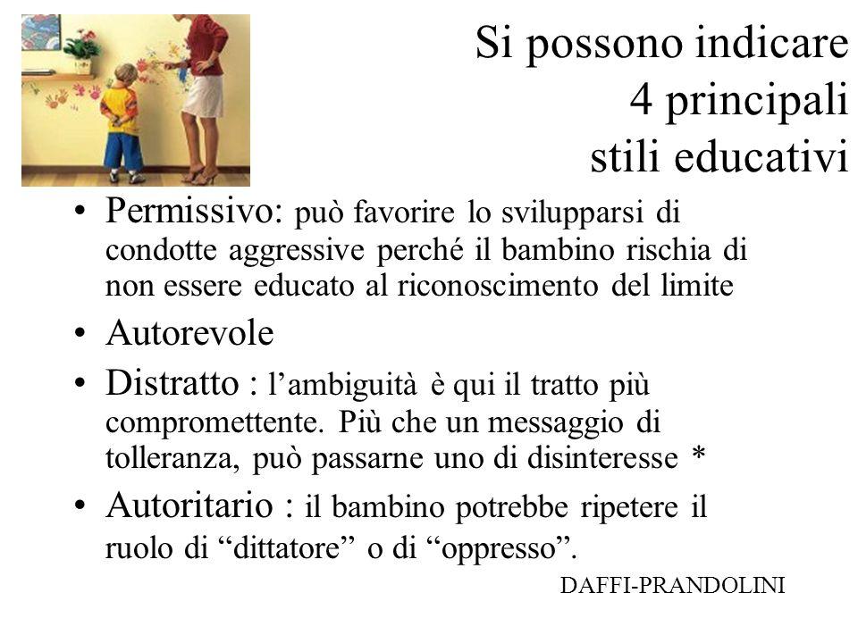 Si possono indicare 4 principali stili educativi Permissivo: può favorire lo svilupparsi di condotte aggressive perché il bambino rischia di non esser