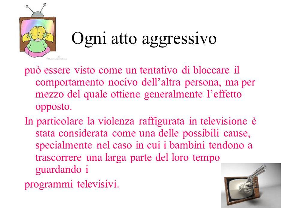 Ogni atto aggressivo può essere visto come un tentativo di bloccare il comportamento nocivo dellaltra persona, ma per mezzo del quale ottiene generalm