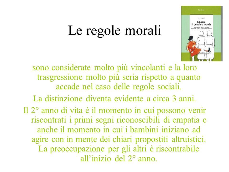 Le regole morali sono considerate molto più vincolanti e la loro trasgressione molto più seria rispetto a quanto accade nel caso delle regole sociali.
