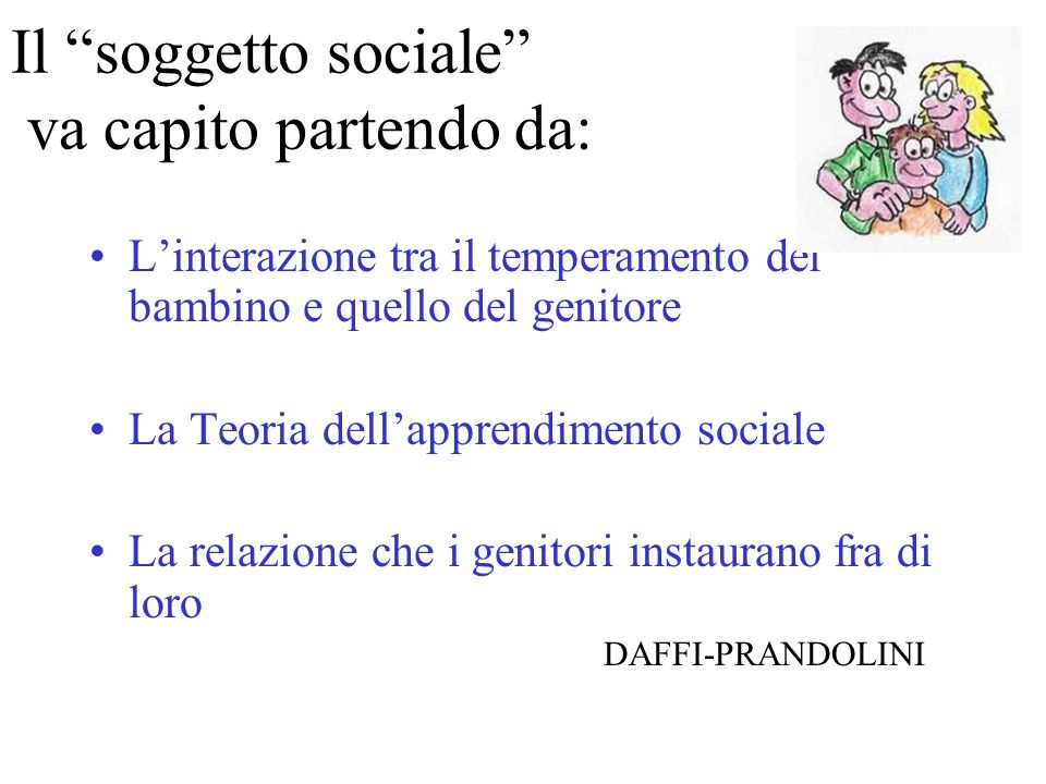 Il soggetto sociale va capito partendo da: Linterazione tra il temperamento del bambino e quello del genitore La Teoria dellapprendimento sociale La r