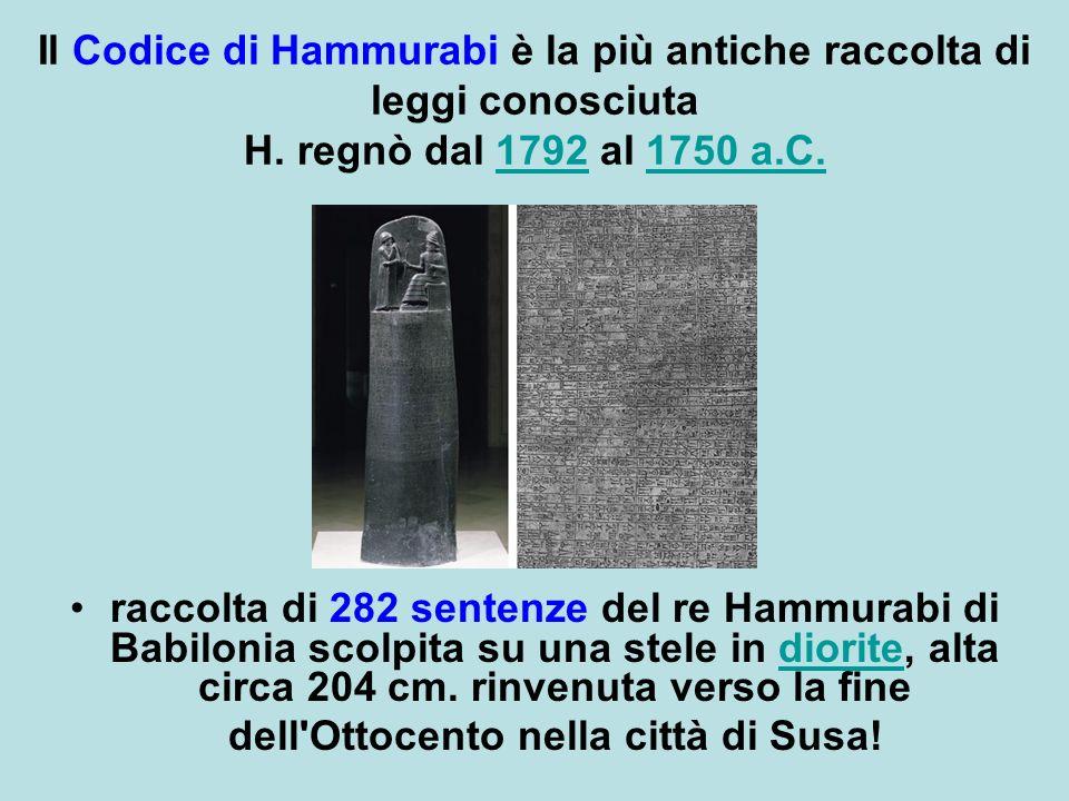Il Codice di Hammurabi è la più antiche raccolta di leggi conosciuta H.