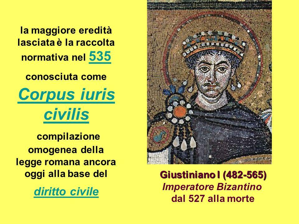 la maggiore eredità lasciata è la raccolta normativa nel 535 conosciuta come Corpus iuris civilis compilazione omogenea della legge romana ancora oggi alla base del diritto civile 535 Corpus iuris civilis diritto civile Giustiniano I (482-565) Giustiniano I (482-565) Imperatore Bizantino dal 527 alla morte