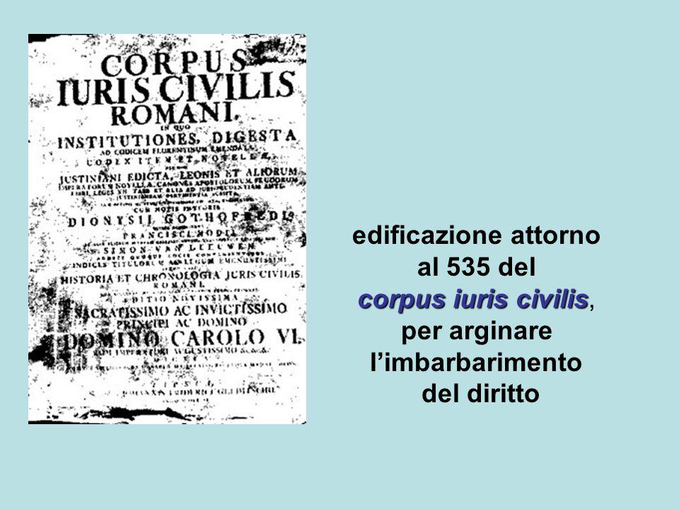 edificazione attorno corpus iuris civilis al 535 del corpus iuris civilis, per arginare limbarbarimento del diritto