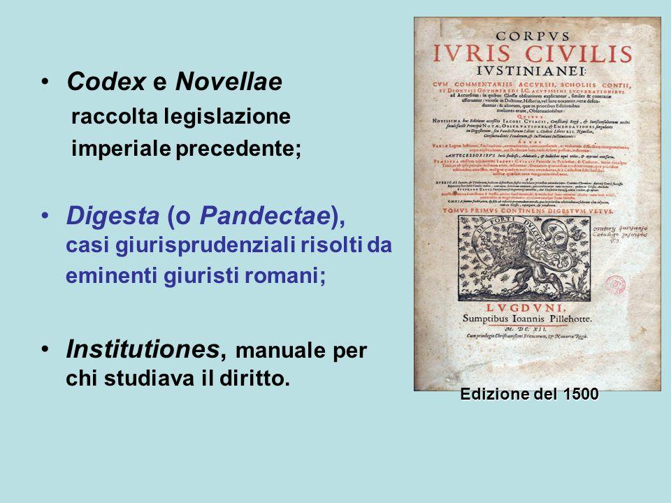 Codex e Novellae raccolta legislazione imperiale precedente; Digesta (o Pandectae), casi giurisprudenziali risolti da eminenti giuristi romani; Institutiones, manuale per chi studiava il diritto.