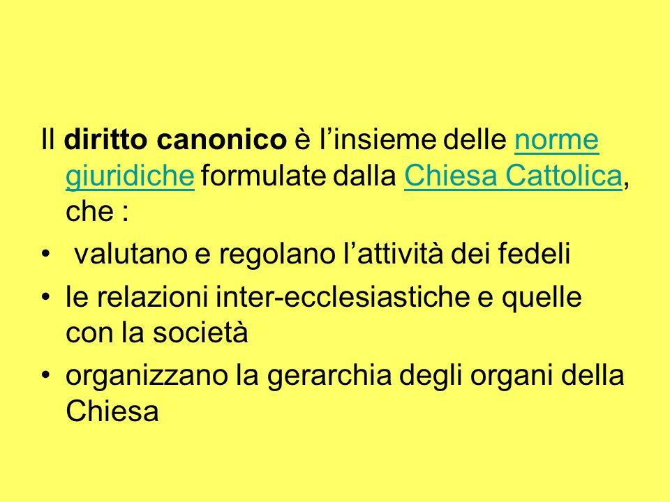 Il diritto canonico è linsieme delle norme giuridiche formulate dalla Chiesa Cattolica, che :norme giuridicheChiesa Cattolica valutano e regolano lattività dei fedeli le relazioni inter-ecclesiastiche e quelle con la società organizzano la gerarchia degli organi della Chiesa