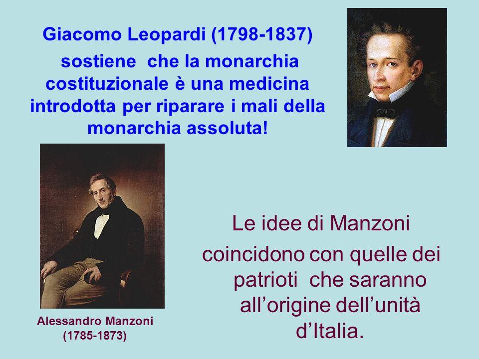 Le idee di Manzoni coincidono con quelle dei patrioti che saranno allorigine dellunità dItalia.