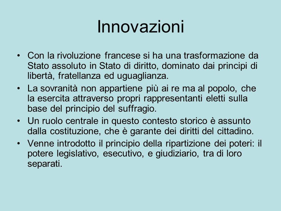 Innovazioni Con la rivoluzione francese si ha una trasformazione da Stato assoluto in Stato di diritto, dominato dai principi di libertà, fratellanza ed uguaglianza.