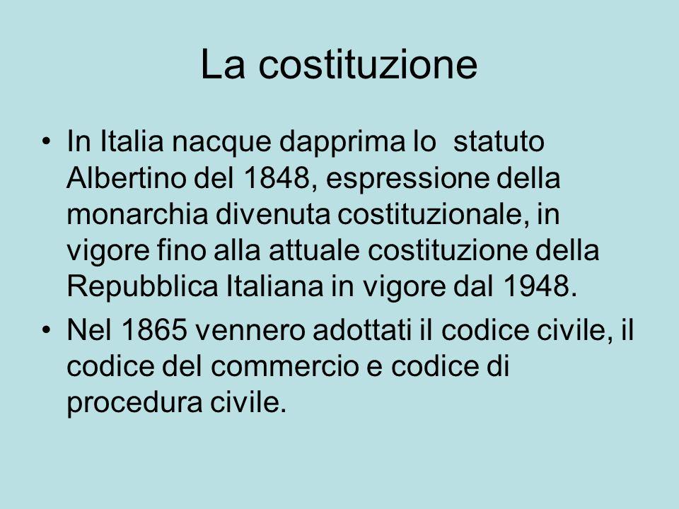 La costituzione In Italia nacque dapprima lo statuto Albertino del 1848, espressione della monarchia divenuta costituzionale, in vigore fino alla attuale costituzione della Repubblica Italiana in vigore dal 1948.