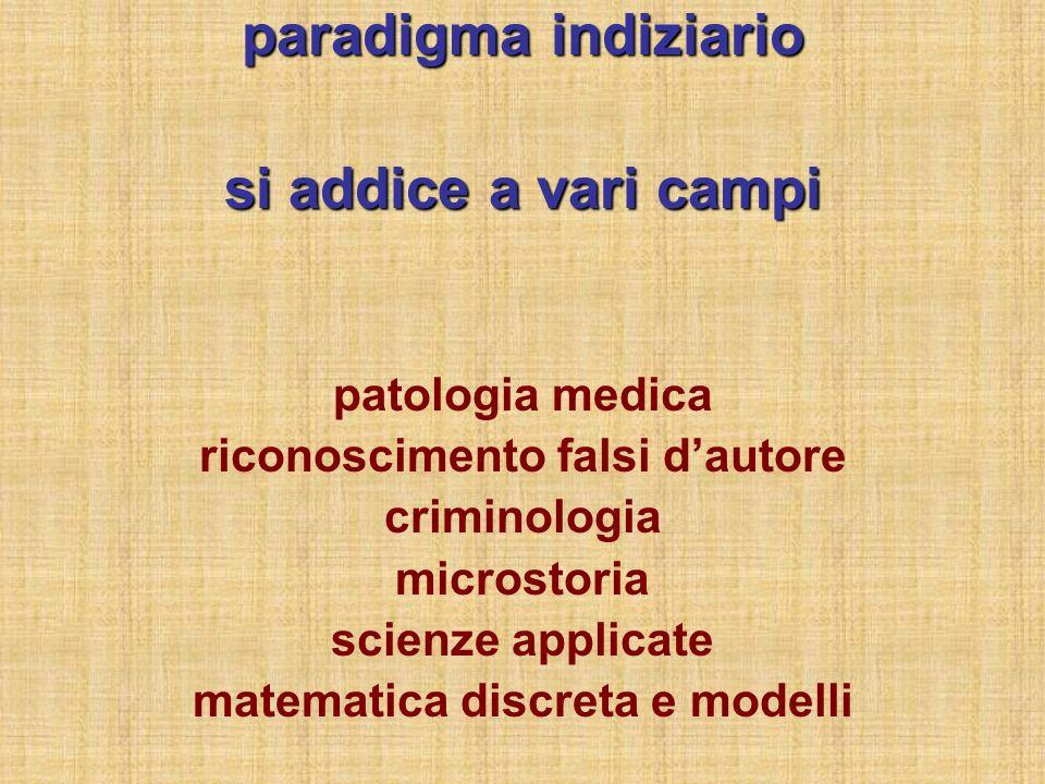 paradigma indiziario si addice a vari campi patologia medica riconoscimento falsi dautore criminologia microstoria scienze applicate matematica discreta e modelli