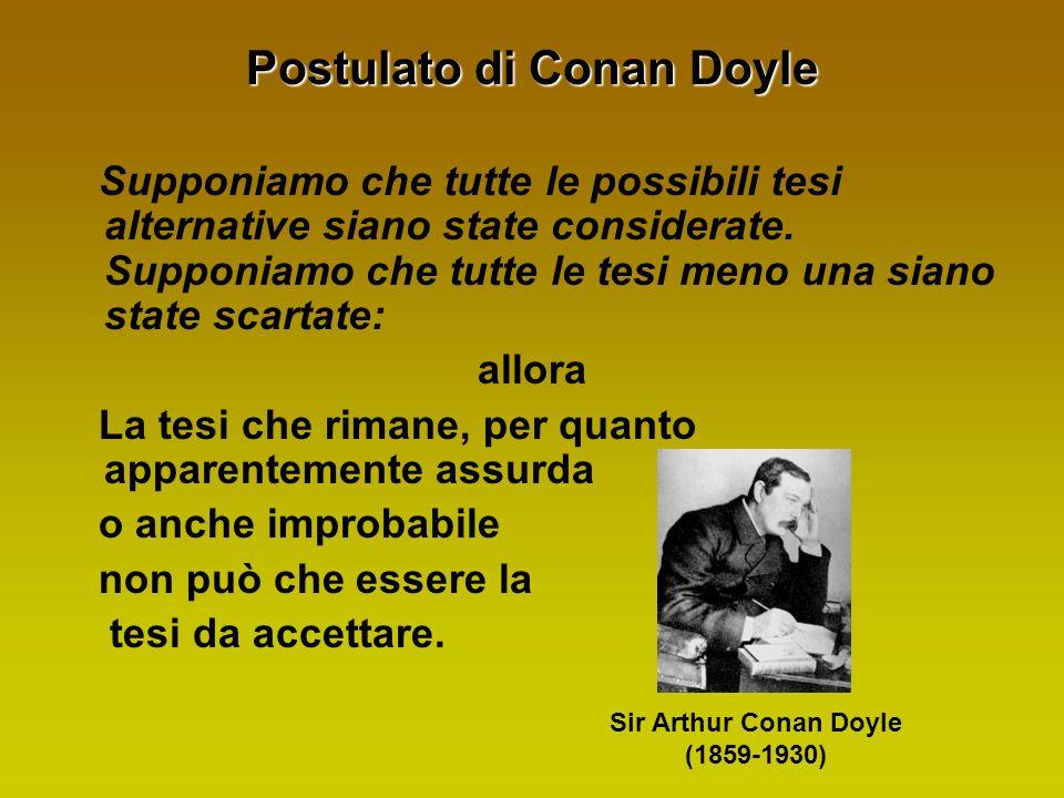 Postulato di Conan Doyle Supponiamo che tutte le possibili tesi alternative siano state considerate.