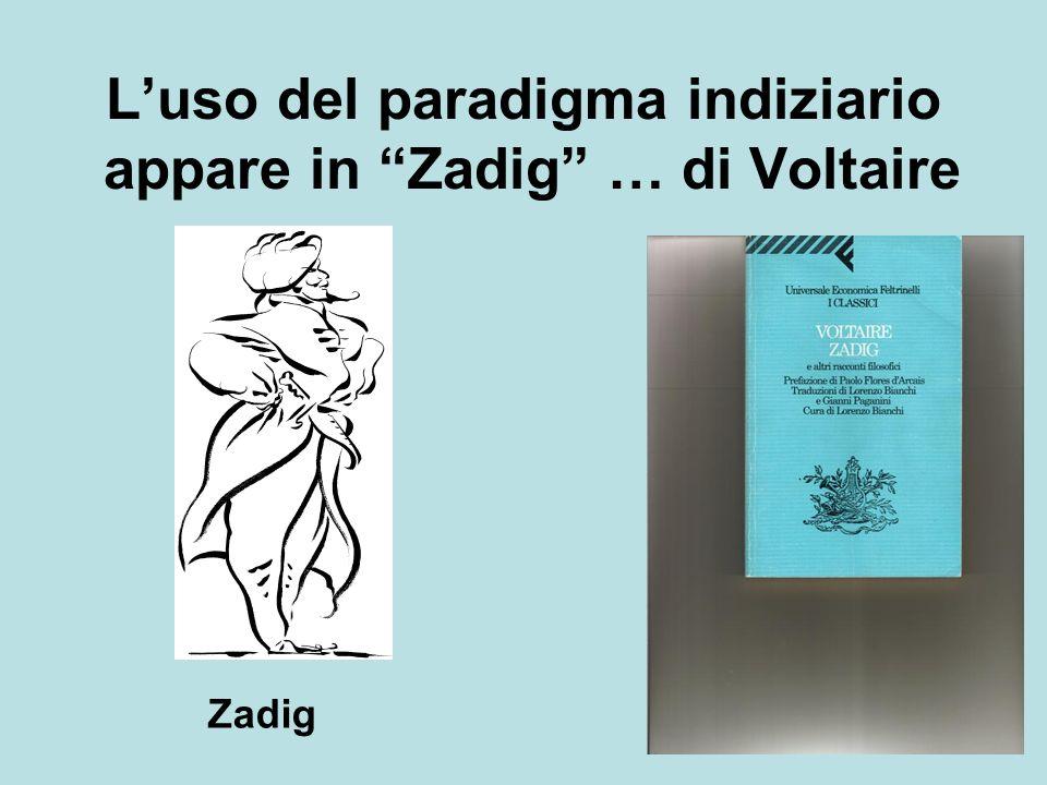 Luso del paradigma indiziario appare in Zadig … di Voltaire Zadig
