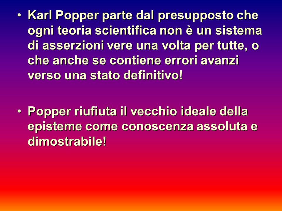 Karl Popper parte dal presupposto che ogni teoria scientifica non è un sistema di asserzioni vere una volta per tutte, o che anche se contiene errori avanzi verso una stato definitivo!Karl Popper parte dal presupposto che ogni teoria scientifica non è un sistema di asserzioni vere una volta per tutte, o che anche se contiene errori avanzi verso una stato definitivo.