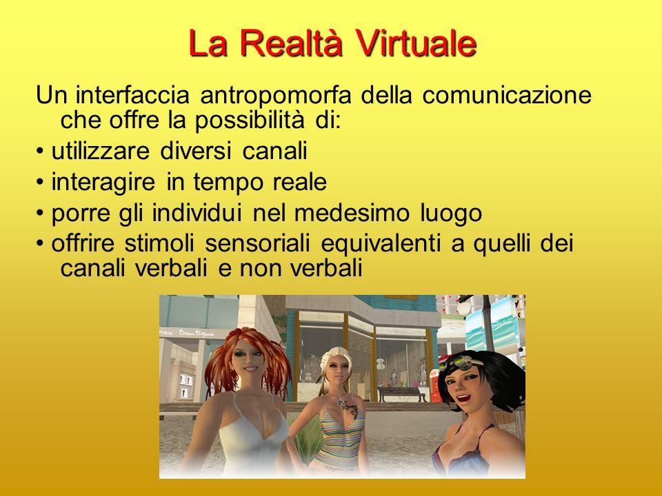 La Realtà Virtuale Un interfaccia antropomorfa della comunicazione che offre la possibilità di: utilizzare diversi canali interagire in tempo reale porre gli individui nel medesimo luogo offrire stimoli sensoriali equivalenti a quelli dei canali verbali e non verbali