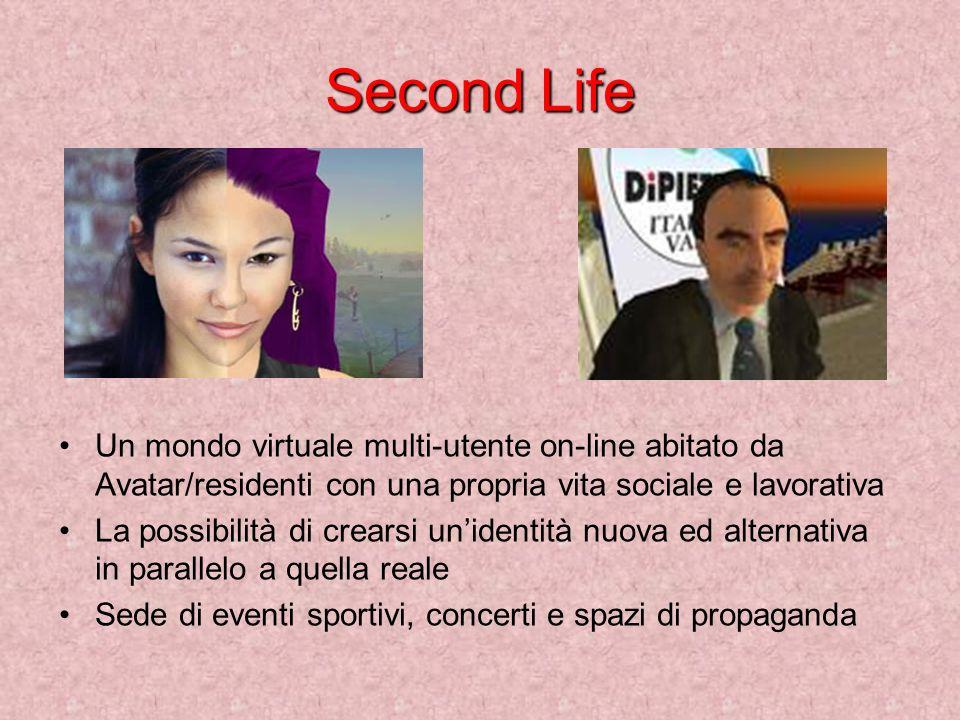 Second Life Un mondo virtuale multi-utente on-line abitato da Avatar/residenti con una propria vita sociale e lavorativa La possibilità di crearsi unidentità nuova ed alternativa in parallelo a quella reale Sede di eventi sportivi, concerti e spazi di propaganda