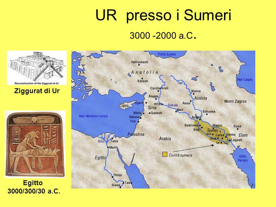 UR presso i Sumeri 3000 -2000 a.C. Ziggurat di Ur Egitto 3000/300/30 a.C.