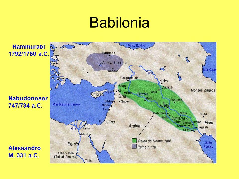 Babilonia a Nabudonosor 747/734 a.C. Hammurabi 1792/1750 a.C. Alessandro M. 331 a.C.