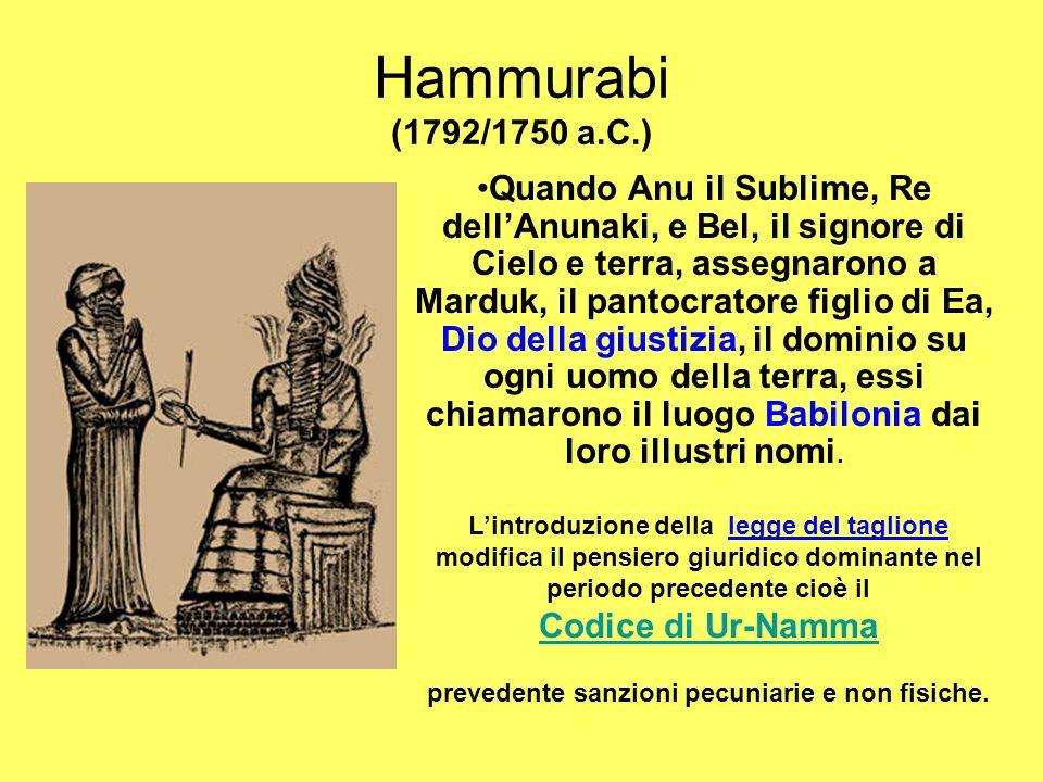 Hammurabi (1792/1750 a.C.) Quando Anu il Sublime, Re dellAnunaki, e Bel, il signore di Cielo e terra, assegnarono a Marduk, il pantocratore figlio di Ea, Dio della giustizia, il dominio su ogni uomo della terra, essi chiamarono il luogo Babilonia dai loro illustri nomi.