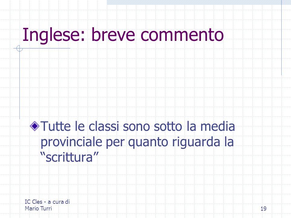 IC Cles - a cura di Mario Turri19 Inglese: breve commento Tutte le classi sono sotto la media provinciale per quanto riguarda la scrittura
