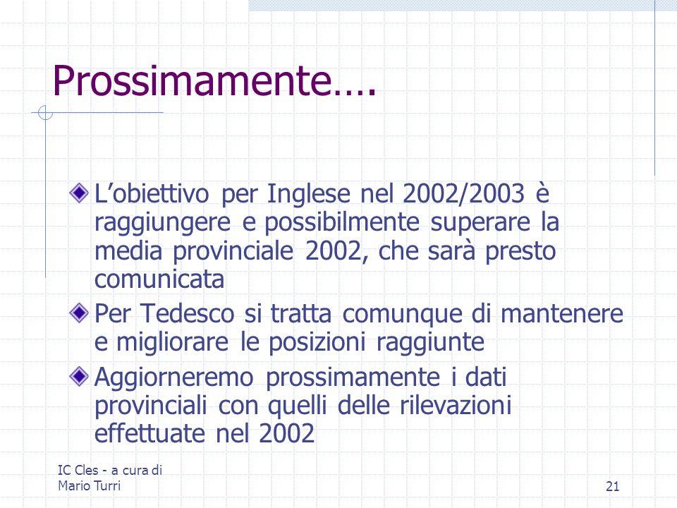 IC Cles - a cura di Mario Turri21 Prossimamente…. Lobiettivo per Inglese nel 2002/2003 è raggiungere e possibilmente superare la media provinciale 200