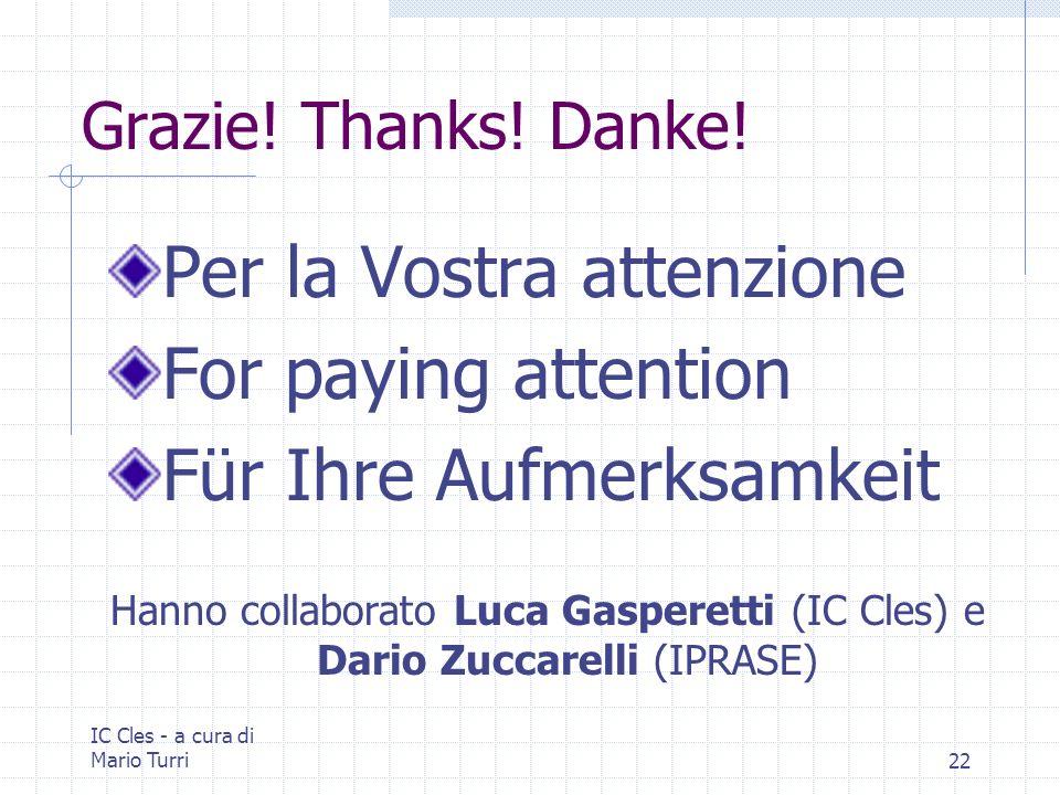 IC Cles - a cura di Mario Turri22 Grazie! Thanks! Danke! Per la Vostra attenzione For paying attention Für Ihre Aufmerksamkeit Hanno collaborato Luca