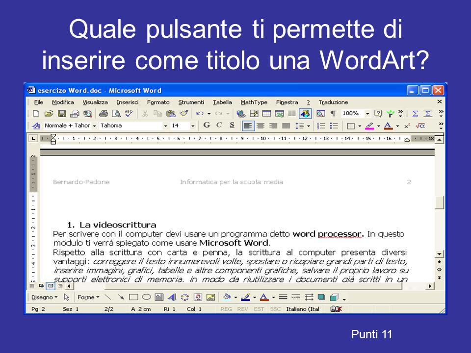 Quale pulsante ti permette di inserire come titolo una WordArt? Punti 11