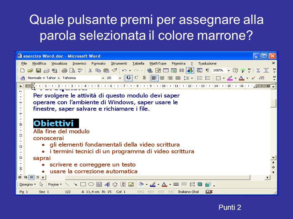 Quale pulsante ti permette di chiudere il documento senza chiudere il programma Word? Punti 13