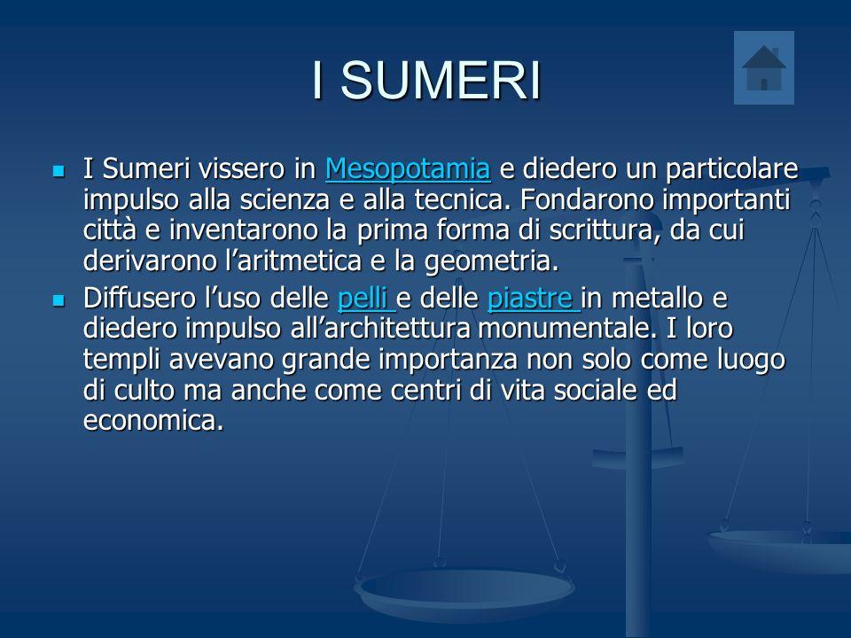 I SUMERI I Sumeri vissero in Mesopotamia e diedero un particolare impulso alla scienza e alla tecnica. Fondarono importanti città e inventarono la pri
