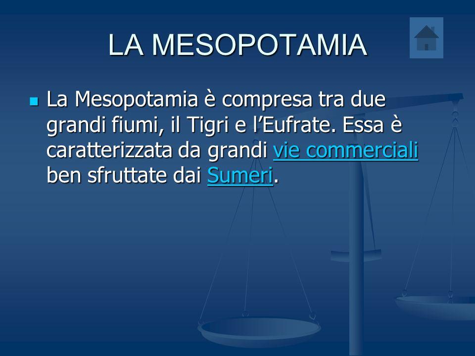 LA MESOPOTAMIA La Mesopotamia è compresa tra due grandi fiumi, il Tigri e lEufrate. Essa è caratterizzata da grandi vie commerciali ben sfruttate dai