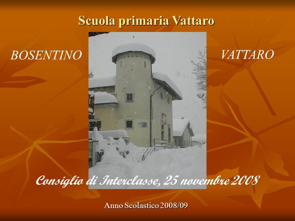 Scuola primaria Vattaro Anno Scolastico 2008/09 BOSENTINO VATTARO Consiglio di Interclasse, 25 novembre 2008