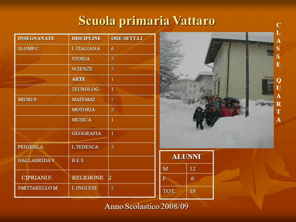 Scuola primaria Vattaro Anno Scolastico 2008/09 ALUNNI M12 F 6 TOT.18 INSEGNANATEDISCIPLINE ORE SETT.LI SLOMP C. L.ITALIANA6 STORIA2 SCIENZE2 ARTE1 TE