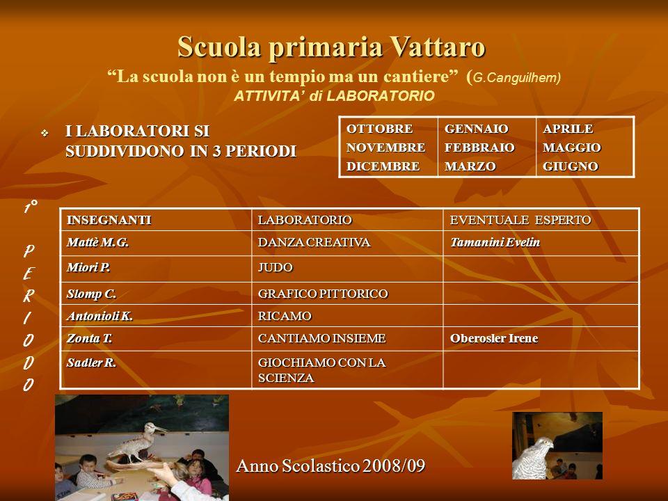 Scuola primaria Vattaro Anno Scolastico 2008/09 La scuola non è un tempio ma un cantiere ( G.Canguilhem) ATTIVITA di LABORATORIO I LABORATORI SI SUDDI