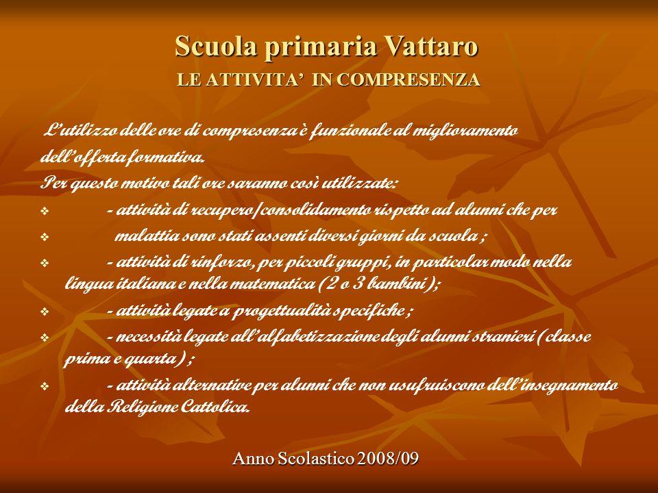 Scuola primaria Vattaro Anno Scolastico 2008/09 LE ATTIVITA IN COMPRESENZA Lutilizzo delle ore di compresenza è funzionale al miglioramento delloffert