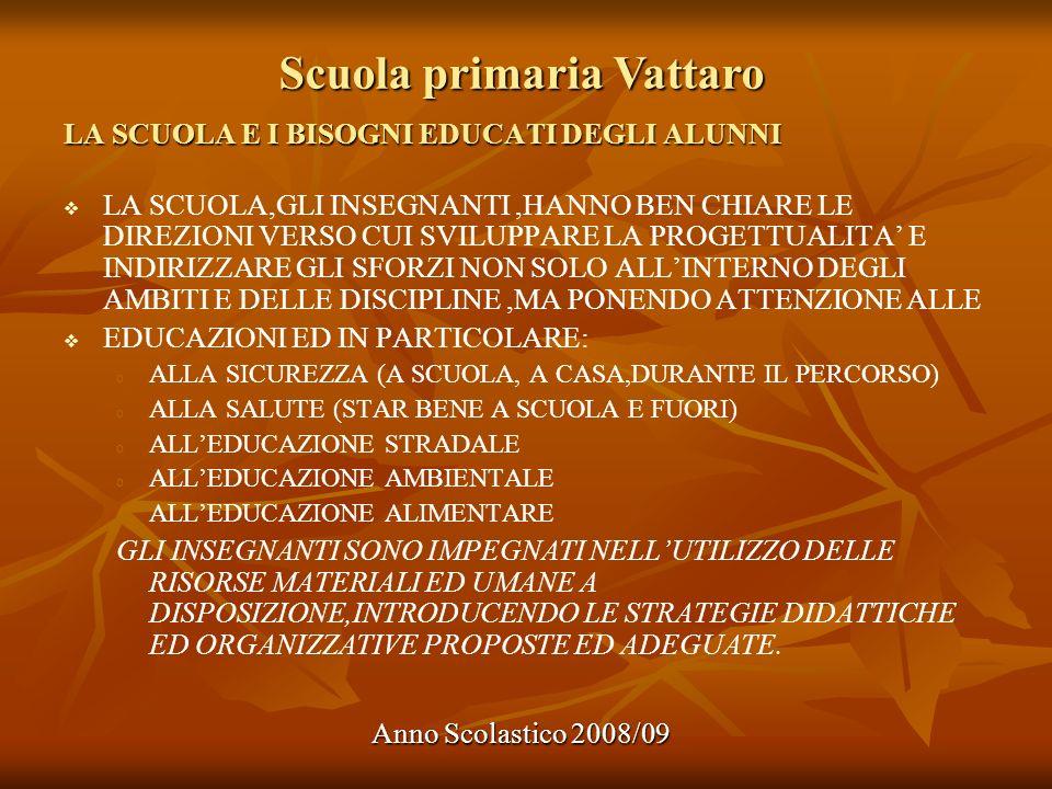 Scuola primaria Vattaro Anno Scolastico 2008/09 LA SCUOLA E I BISOGNI EDUCATI DEGLI ALUNNI LA SCUOLA,GLI INSEGNANTI,HANNO BEN CHIARE LE DIREZIONI VERS