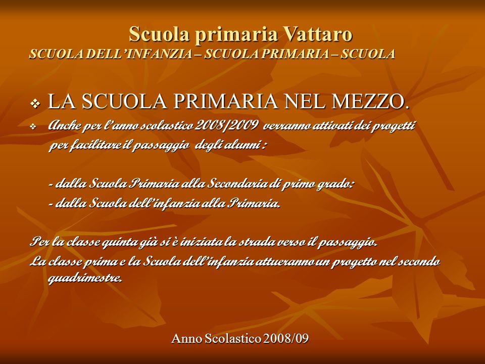 Scuola primaria Vattaro Anno Scolastico 2008/09 SCUOLA DELLINFANZIA – SCUOLA PRIMARIA – SCUOLA LA SCUOLA PRIMARIA NEL MEZZO. LA SCUOLA PRIMARIA NEL ME