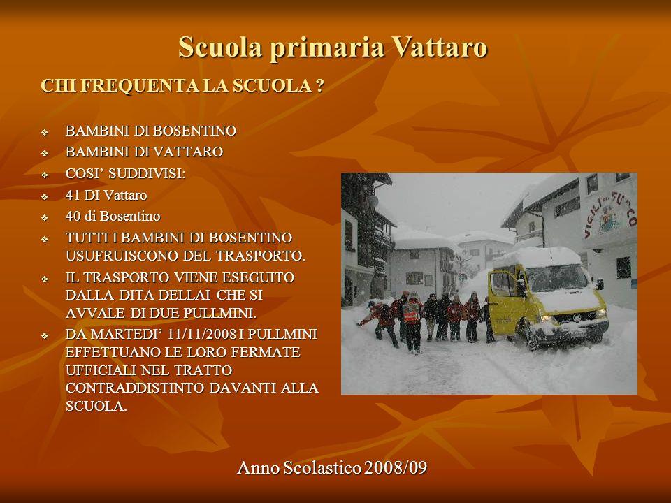 Scuola primaria Vattaro Anno Scolastico 2008/09 ARTICOLAZIONE ORARIO SCOLASTICO MATTINOINTERMENSAPOMERIGGIONOTE LUNEDI 7.50 - 12.05 12.05 - 13.35 13.35 - 15-35 MARTEDI 7.50 - 12.05 12.05 - 13.20 13.20 - 15.50 Per chi ha scelto il tempo obbligatorio MERCOLEDI 7.50 - 12.05 12.05 - 13.35 13.35 - 15.35 GIOVEDI 7.50 - 12.10 12.10 - 13.35 13.35 - 15.35 Al mattino 5 ore (momenti) lezione VENERDI 7.50 - 12.10 h.21 e m.25 h.5 e m.40 h.8 e m.30