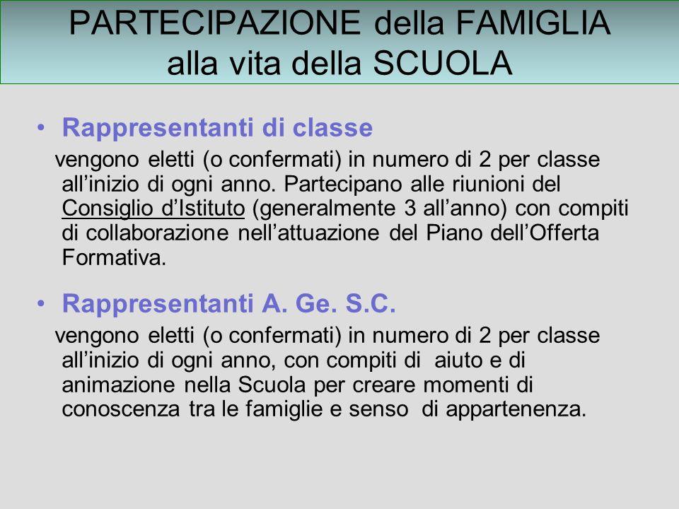 PARTECIPAZIONE della FAMIGLIA alla vita della SCUOLA Rappresentanti di classe vengono eletti (o confermati) in numero di 2 per classe allinizio di ogni anno.