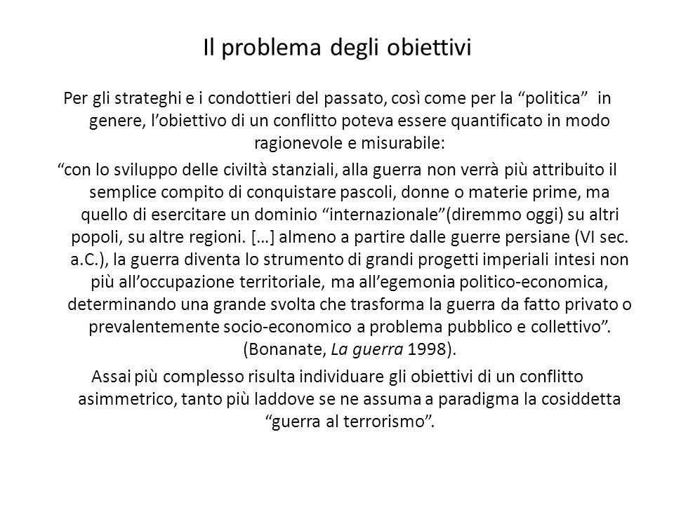 Il problema degli obiettivi Per gli strateghi e i condottieri del passato, così come per la politica in genere, lobiettivo di un conflitto poteva esse