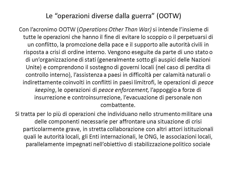 Le operazioni diverse dalla guerra (OOTW) Con lacronimo OOTW (Operations Other Than War) si intende linsieme di tutte le operazioni che hanno il fine