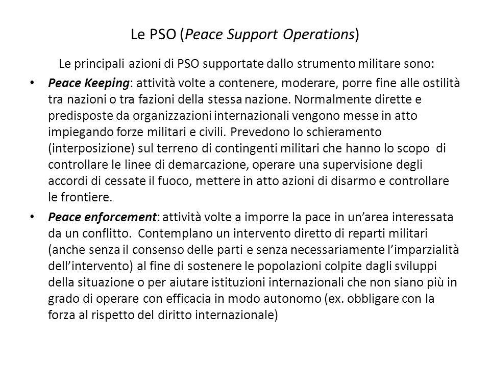Le PSO (Peace Support Operations) Le principali azioni di PSO supportate dallo strumento militare sono: Peace Keeping: attività volte a contenere, mod