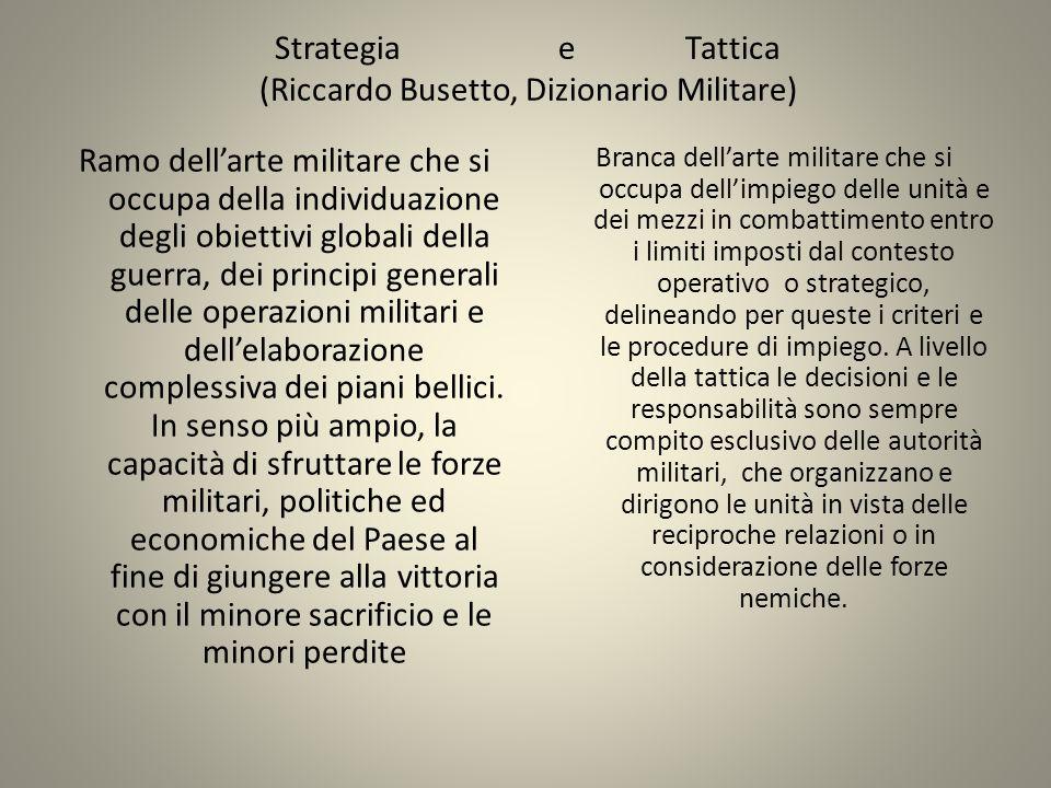 Strategia e Tattica (Riccardo Busetto, Dizionario Militare) Ramo dellarte militare che si occupa della individuazione degli obiettivi globali della gu