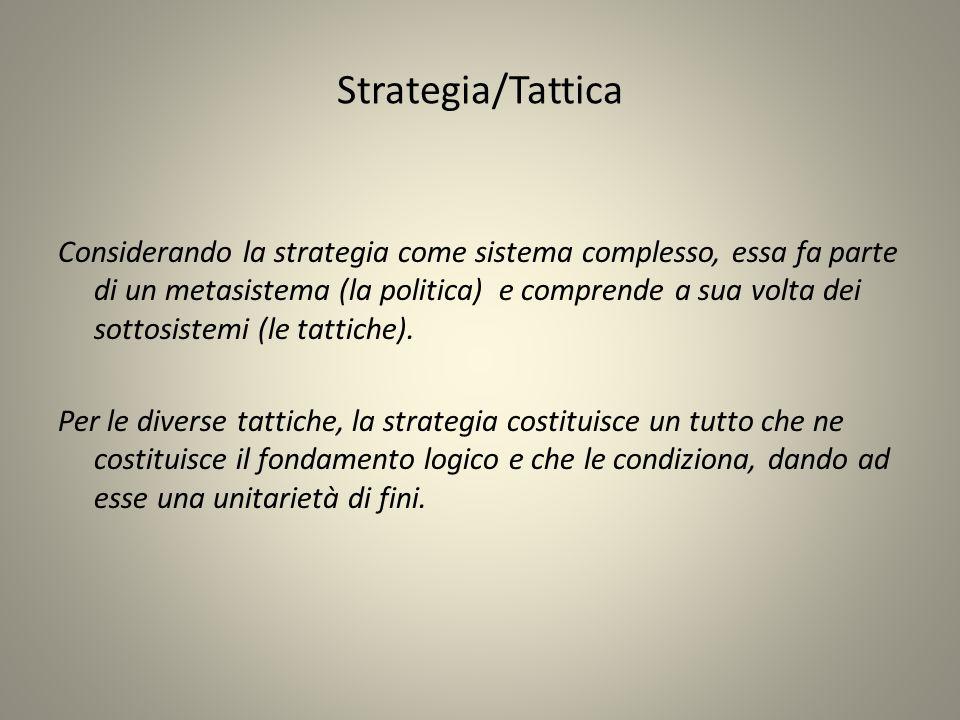 Strategia/Tattica Considerando la strategia come sistema complesso, essa fa parte di un metasistema (la politica) e comprende a sua volta dei sottosistemi (le tattiche).