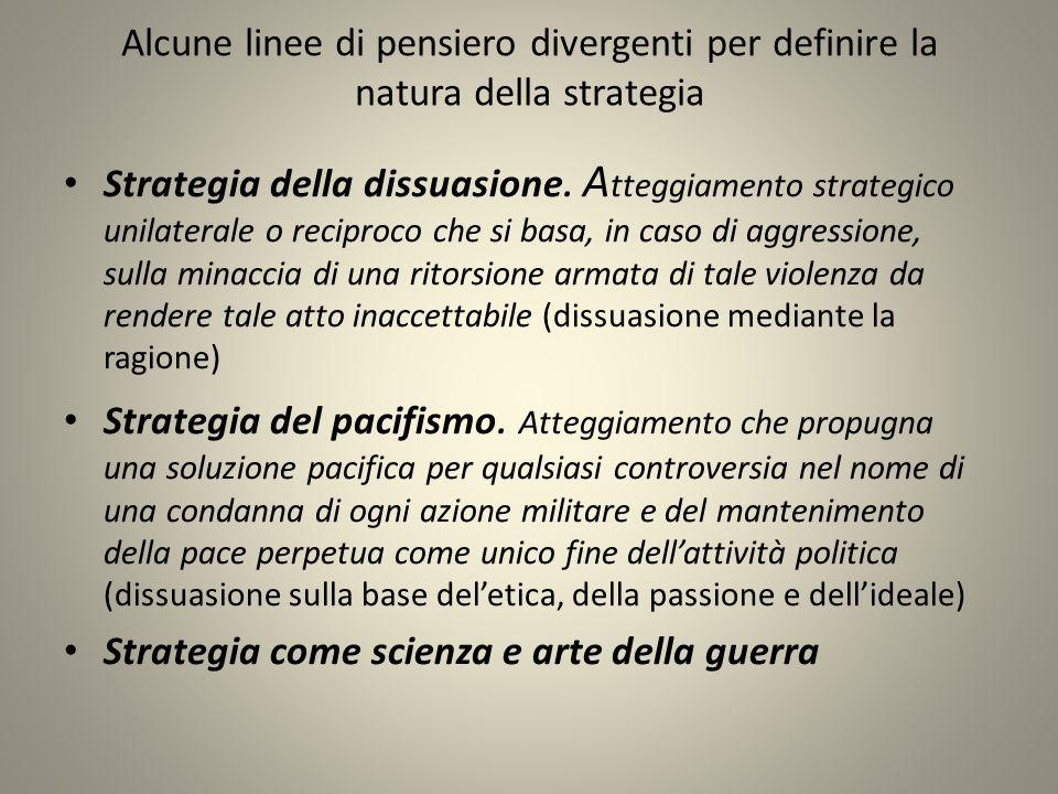 Alcune linee di pensiero divergenti per definire la natura della strategia Strategia della dissuasione.