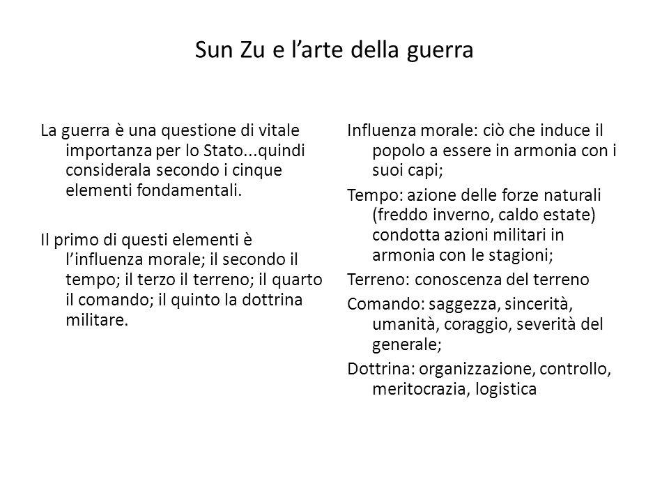 Sun Zu e larte della guerra La guerra è una questione di vitale importanza per lo Stato...quindi considerala secondo i cinque elementi fondamentali.
