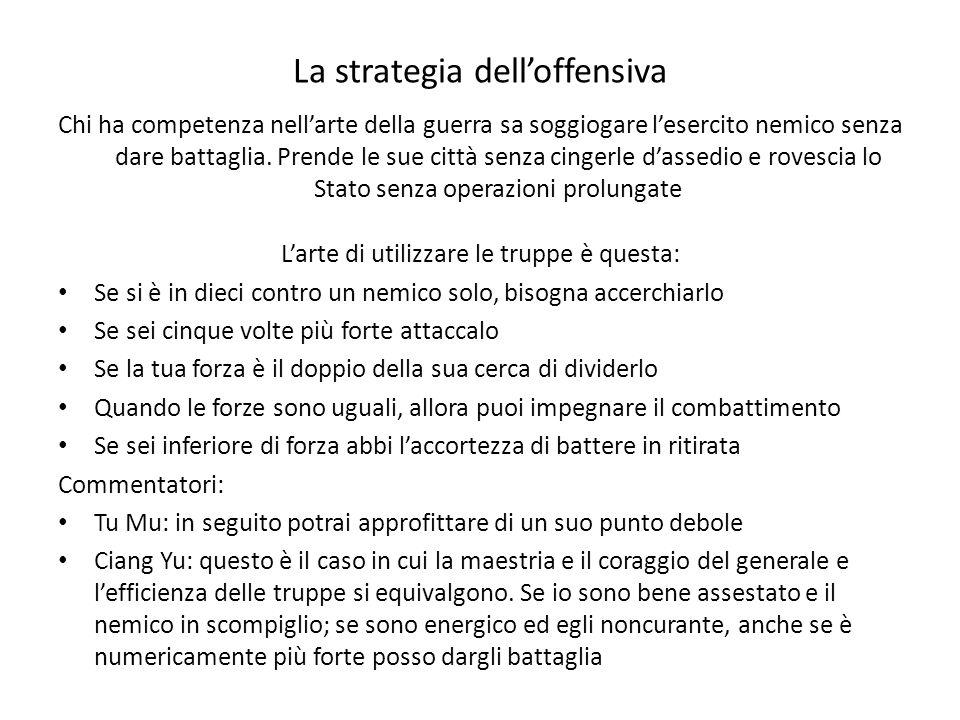 La strategia delloffensiva Chi ha competenza nellarte della guerra sa soggiogare lesercito nemico senza dare battaglia.