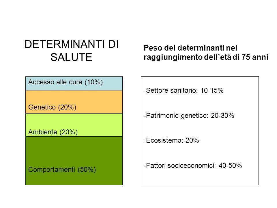 Accesso alle cure (10%) Genetico (20%) Ambiente (20%) Comportamenti (50%) DETERMINANTI DI SALUTE Peso dei determinanti nel raggiungimento delletà di 7