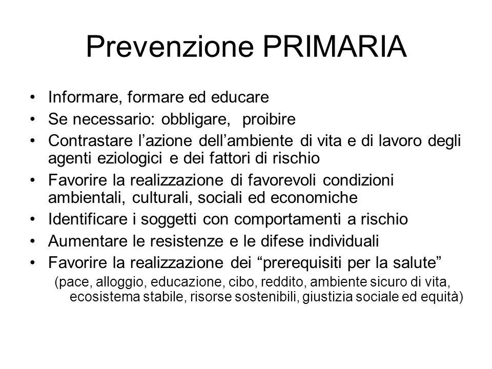 Prevenzione PRIMARIA Informare, formare ed educare Se necessario: obbligare, proibire Contrastare lazione dellambiente di vita e di lavoro degli agent